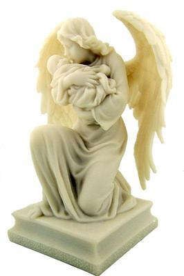 """Guardian Angel on Knee Holding Baby 7"""" White Stone Statue Religious Chapel Decor"""