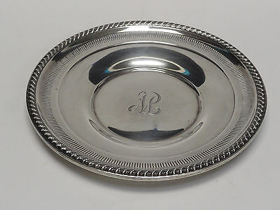 "EXQUISITE ROGERS STERLING SILVER PIERCED PLATE 50  9"" Dia / 129 gram"