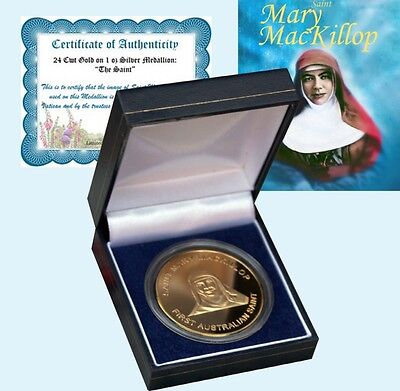 Gold on 1oz Silver Proof Medaillion Coin Mary MacKillop