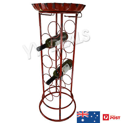 Metal Beer Table Bottle Rack - Holds 8 Bottles Bar Party Rustic Red OZ Stock New