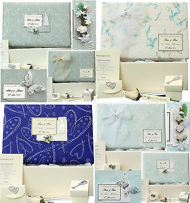 LARGE Wedding Keepsake Memory Box 12 Blue Designs PERSONALISED 4 Motifs +Extras