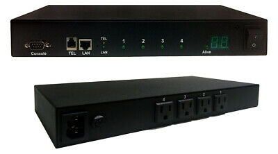 Smart 1U IP-based 4-Port Power On/Off Controller Switch ~ Phone / Web Control