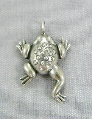 "Sterling Silver Frog Pendant Marked BBW .125ozt/3.7g 1"" x 11/16"" x 1/4"""