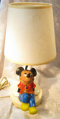 1960's 70's Vintage Mickey Mouse Child's Bedroom Lamp Disney