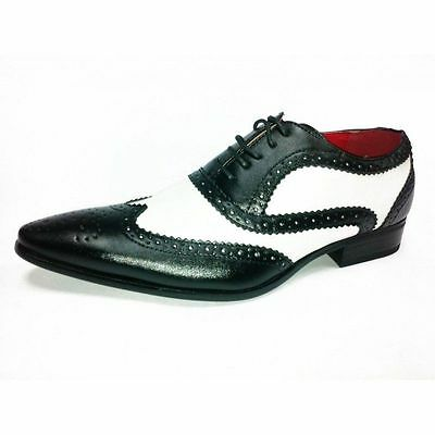Mens Gangster Party Dress Leather Look Spats Brogues Lace Up Shoes  Black/White