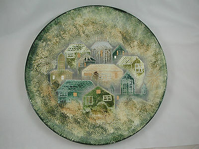 """Sascha Brastoff 14"""" Plate Rooftops Houses Gold Teal Turquoise Blue Cream"""