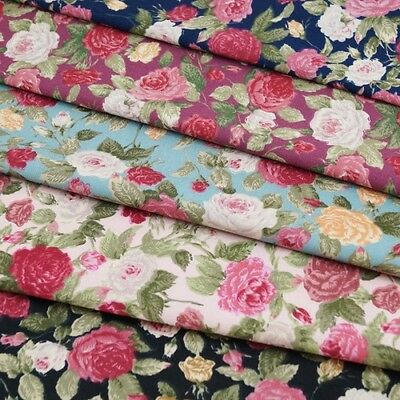 one metre cotton poplin with large carp and pink flowers on ivory
