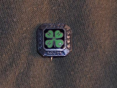 Vintage 4-H Enamel Silver Pin 20's - 30's State Michigan Four Leaf Clover