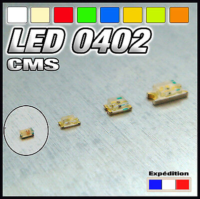 144# LED CMS  0402 blanc, blanc chaud, rouge , bleu, jaune, orange, vert
