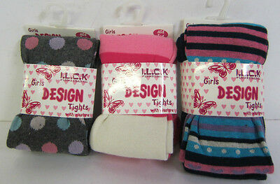 46B186- I.L.C.K Girls Tights Colours- Pink Stripe,Grey Spotty, Navy Stripe £1.99
