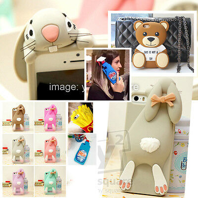 iPhone5/5s 4/4s 3D Cute Bunny Rabbit Drink Cartoon Silicone Soft Case Cover Skin