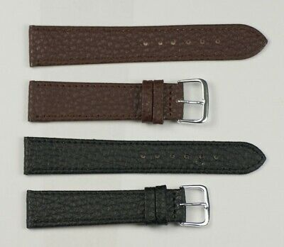 Buffalo Grained Leather watch strap replacement for formal black/brown 12mm-20mm