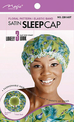 Magic Collection Satin Sleep Cap Floral Pattern Elastic Band #2261AST