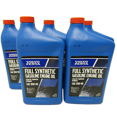 Volvo Penta OEM Synthetic Engine Oil 10w-40 Quart 32oz Qt 21681794 Pack of 5