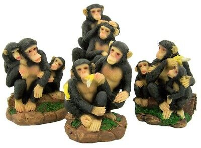 "Set of 4! Playing Chimpanzee Monkey Figurines 3"" Stone Statue Home Garden Decor"