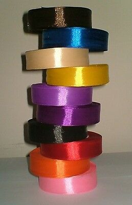 Full 25 Metres Reel 25 mm Lovely Satin Ribbon Single Faced Many Assorted Colours