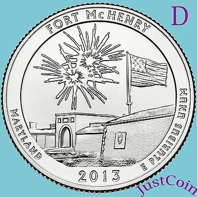 2013-D FORT McHENRY QUARTER NATIONAL MONUMENT UNCIRCULATED FROM MINT ROLL