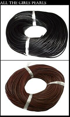100 % Real Cowhide Leather Thong Cord. 2.5mm.Black or Brown. (BOX115)
