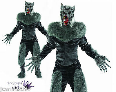 Mens Adult Deluxe Grey Wolf Werewolf Fancy Dress Halloween Costume Mask & Gloves