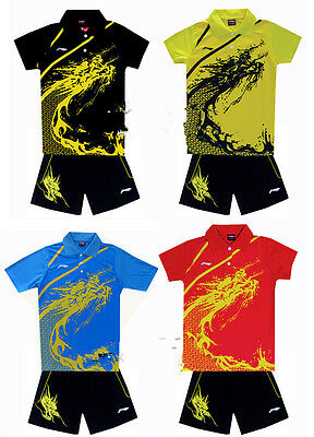 NEW Li-Ning Unisex Children Badminton Tops /Table tennis T Shirt +shorts