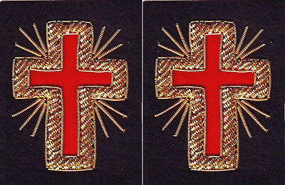 Masonic Knight Templar Past Commander Sleeve Cross Pair Hand Embroidered (Me-091