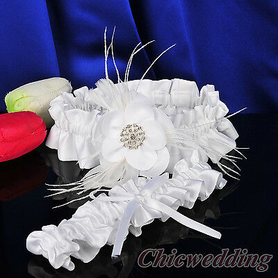 White Wedding Bridal Garter Set of 2 Toss & Keepsake Flower Feather Rhinestone