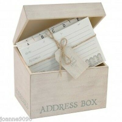 East Of India White Wash Wooden Address Box Cards Vintage Retro New Home Gift