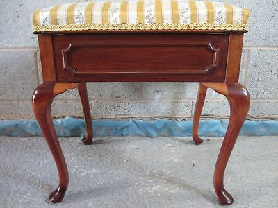 Lovely Edwardian Mahogany dressing stool with lift up upholstered lid (ref 1331)