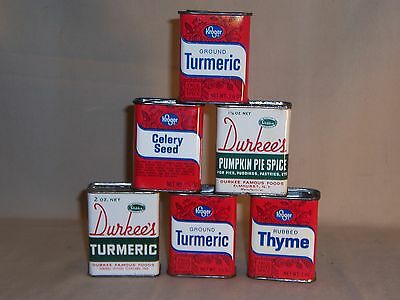 Lot of 6 vintage assorted spice metal tins Durkee's and Kroger made in Ohio