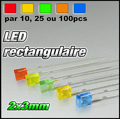 RED Rectangular LED 324R//100# LED Rectangulaire 5x2 mm  Rouge  100pcs