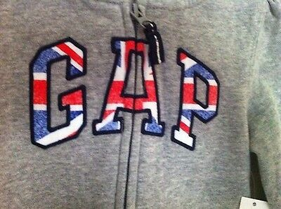 Baby GAP Grey With Union Jack Hoodie Zip Up Age 4 Toddler For GIRLS