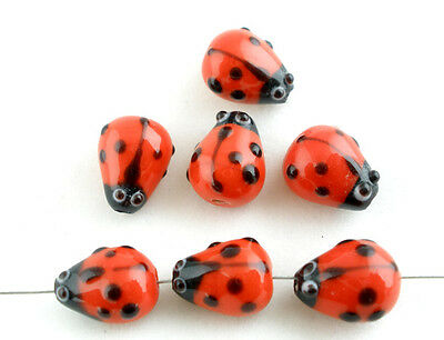 20Pcs Ladybug Lampwork Spacer Beads Jewelry Making 15x10mm