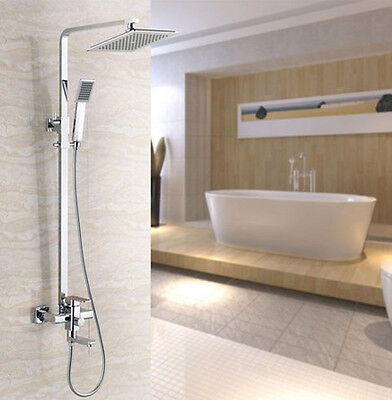 """Bathroom 8"""" Square Rainfall Shower Faucet Set Tub Mixer Tap with Hand Spray"""