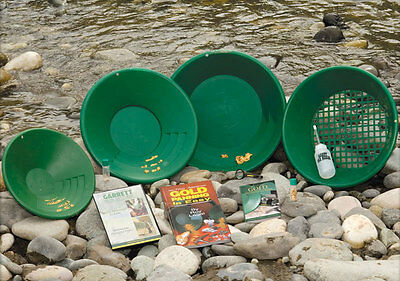 Garrett Deluxe Gold Panning Pan Kit w/DVD, Book, & How-to-Find Gold Field Guide!