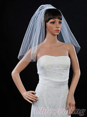 1 Tier Shoulder Length White Veil Wedding Bridal Veil with Comb 130173