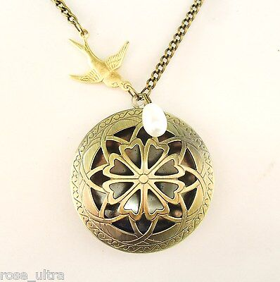 Art Nouveau Style Vintage Brass Filigree Locket, Antique Bronze Long Necklace