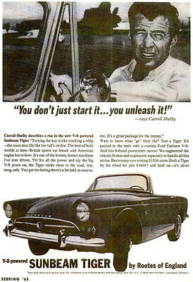 Vintage & Rare 1965 Sunbeam Tiger Ad Better Than Original Quality Print