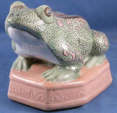 Unmarked Green with Pink Spots  Ceramic Frog, Two Gold Stripes on Base