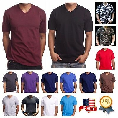 Men's HEAVY WEIGHT Plain V-NECK T-SHIRT Fashion Big & Comfy Casual GYM Tee S-5X