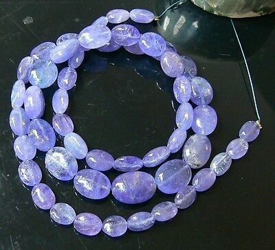 "NATURAL UNTREATED PURPLE BLUE TANZANITE OVAL BEADs STRAND 104.5ct 16.5"" STRAND"