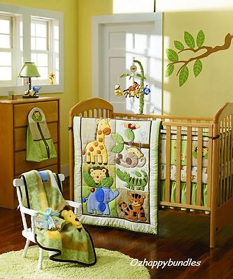 New Baby Boys 4 Pieces Cotton Nursery Bedding Crib Cot Sets--Animal Safari