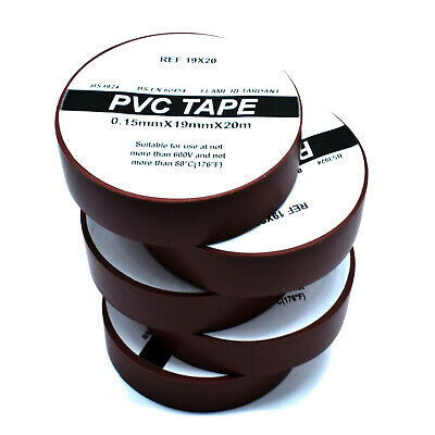 5 ROLLS OF BROWN ELECTRICAL PVC INSULATION INSULATING TAPE 19mm x 20m