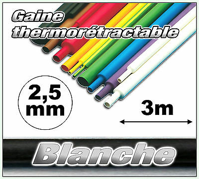 GW2.5-3# gaine thermorétractable blanche 2,5mm 3m ratio 2/1  gaine thermo