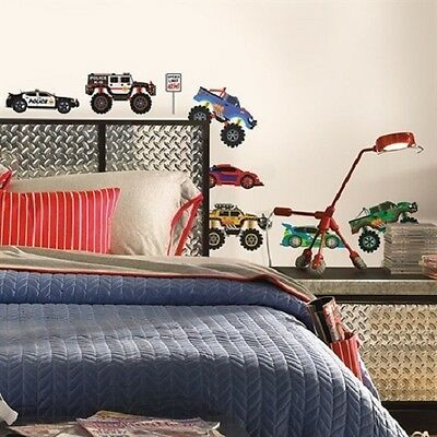 MONSTER JAM TRUCKS wall stickers 15 decals police race car fire jeep signs
