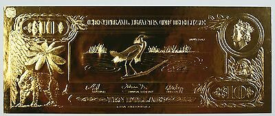 $10 Snowy Egret- The First Gold Bank Notes of Belize w/ Presentation Card