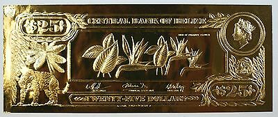 $25 Bird of Paradise Flower-First Gold Bank Notes of Belize w/ Presentation Card
