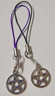 2 x MOBILE PHONE CHARMS TIBETAN SILVER PURPLE & BLACK Wicca Pagan Witch Goth
