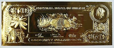 $50 Armadillo-The First Gold Bank Notes of Belize w/ Presentation Card