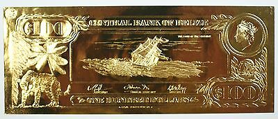 $100 Loss Of The Fishburn-First Gold Bank Notes of Belize w/ Presentation Card