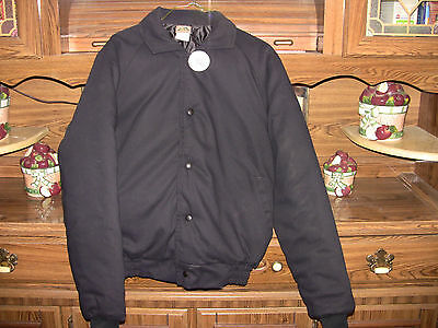 Black Insulated Bomber Jacket - NEW - Front Button - Size Small and Large